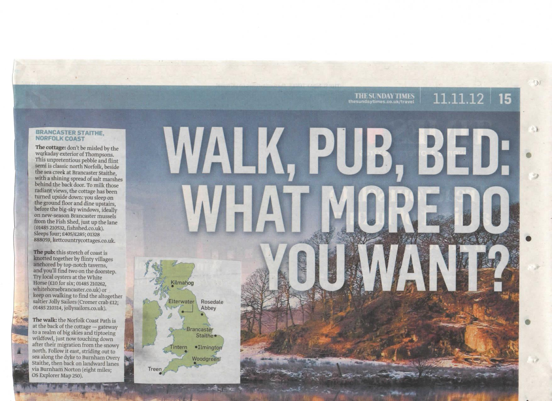 Walk, Pub, Bed: What More Do More Do You Want? - The Sunday Times