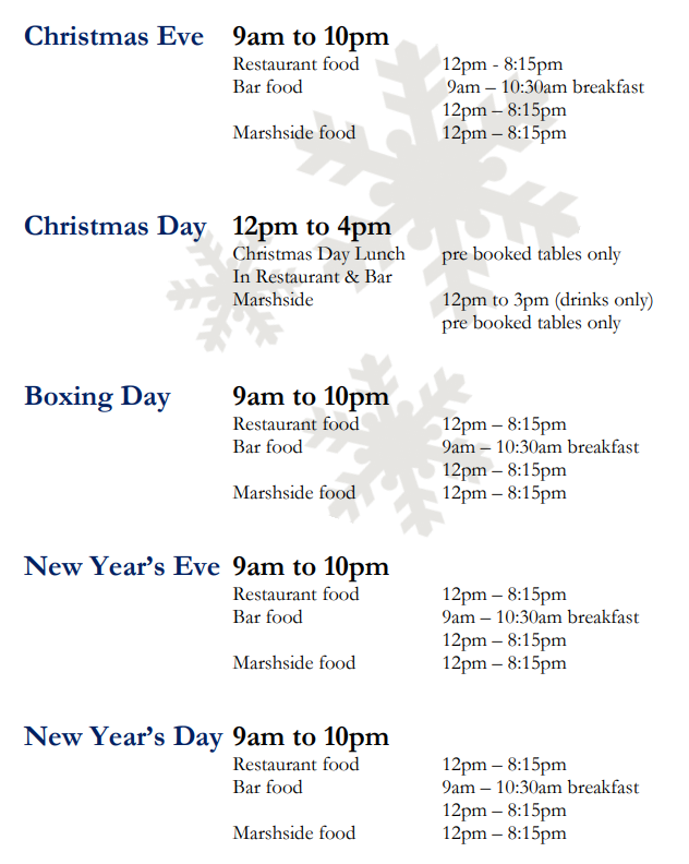 Festive Hours at The White Horse