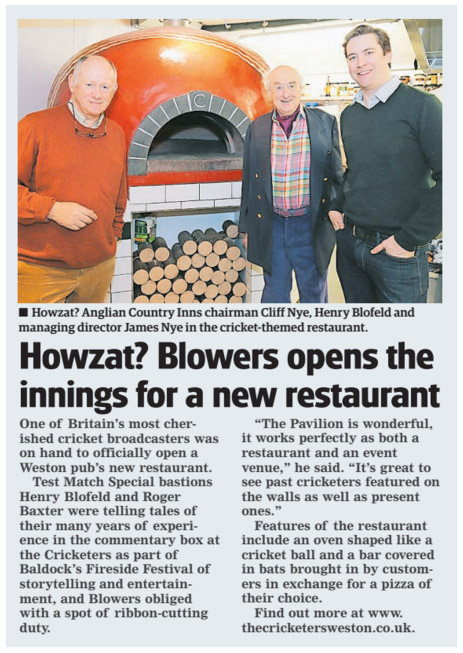 Howzat? Blowers opens the innings for a new restaurant - The Comet