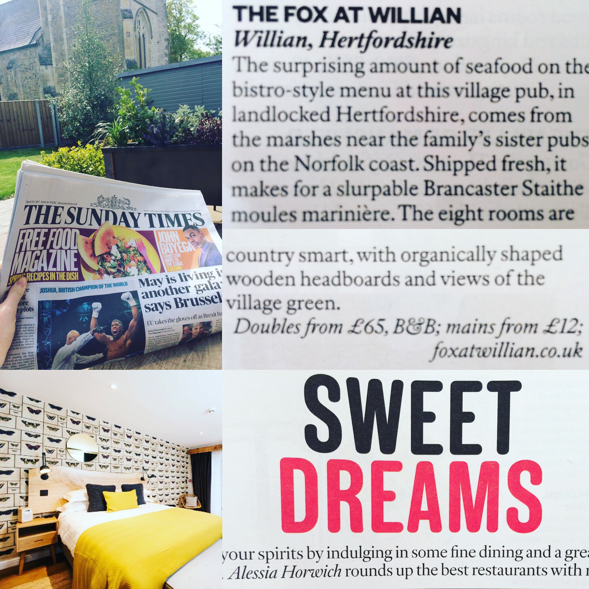 The Fox hand picked by Sunday Times as one of the best restaurants with rooms