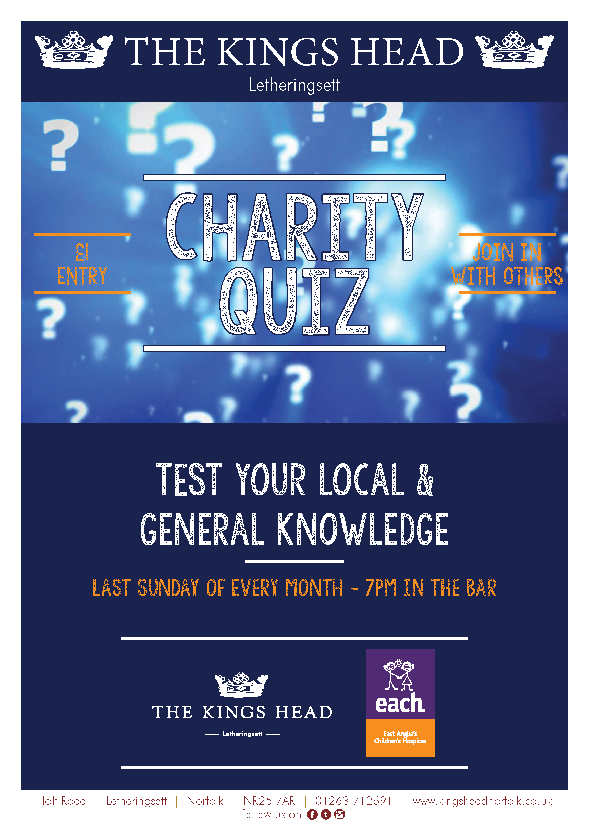 Charity Quiz LAST SUNDAY of each MONTH