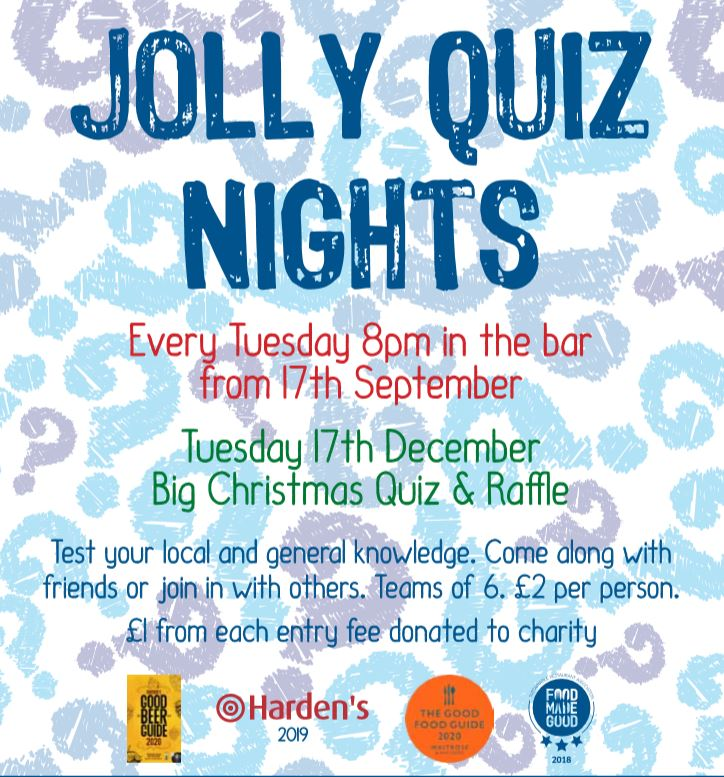 Jolly Quiz Night | The now (in)famous Jolly Sailors Quiz Nights are back for the winter again, are you ready for the challenge? - Dalegate Market | Shopping & Café, Burnham Deepdale, North Norfolk Coast, England, UK